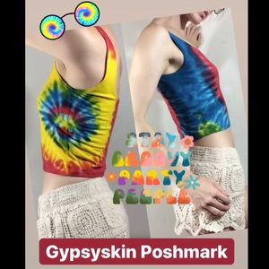 Tye Dye Cropped Tank Top Primary Colors